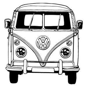 Tekeningen Van Busjes on black and white coloring page outline of a hippie
