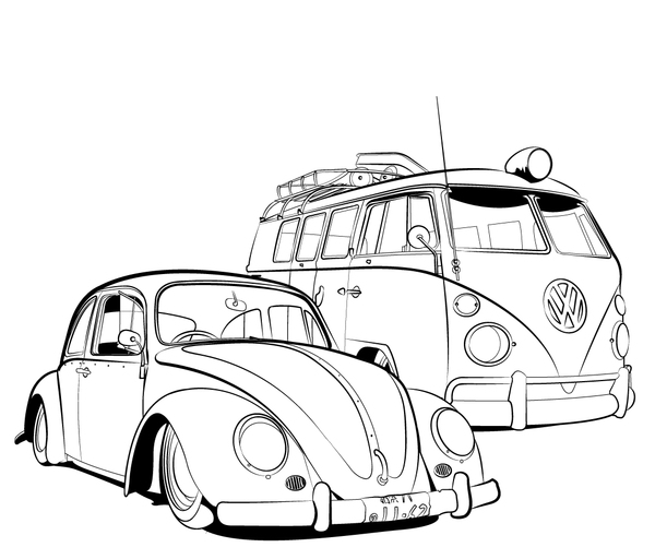 free coloring pages of vw bulli